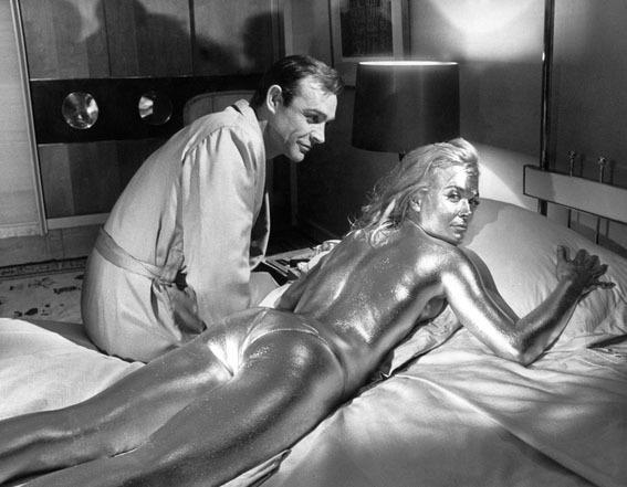 <p>Sean Connery and Shirley Eaton have a rendevous on a bed. Hmm, why does that sound worse than it actually is?</p>