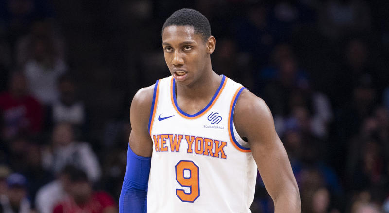 PHILADELPHIA, PA - NOVEMBER 20: RJ Barrett #9 of the New York Knicks looks on against the Philadelphia 76ers at the Wells Fargo Center on November 20, 2019 in Philadelphia, Pennsylvania. NOTE TO USER: User expressly acknowledges and agrees that, by downloading and/or using this photograph, user is consenting to the terms and conditions of the Getty Images License Agreement. (Photo by Mitchell Leff/Getty Images)