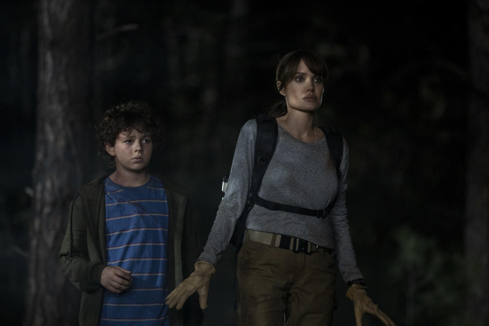 Angelina Jolie and Finn Little in Those Who Wish Me Dead (Emerson Miller/Warner Bros)