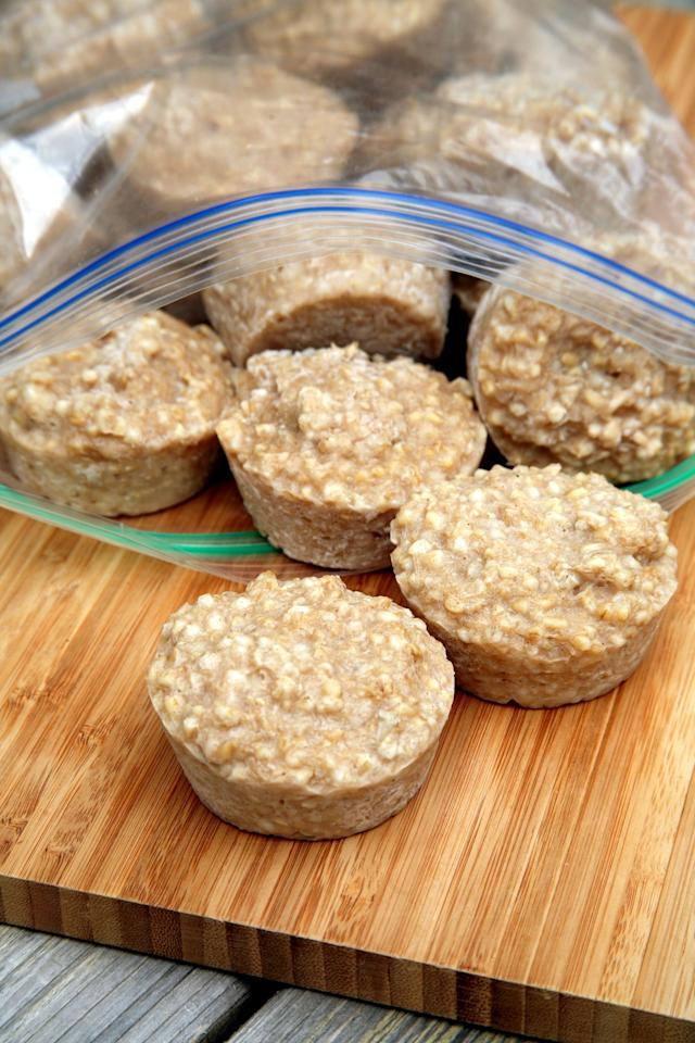 "<p>If you're a fan of steel-cut oatmeal for keeping you full all morning long, this <a href=""https://www.popsugar.com/fitness/How-Freeze-Oatmeal-37455779"" class=""ga-track"" data-ga-category=""Related"" data-ga-label=""http://www.popsugar.com/fitness/How-Freeze-Oatmeal-37455779"" data-ga-action=""In-Line Links"">freezer hack</a> is a huge time-saver. Just make a big batch on the stove, and freeze smaller portions using a muffin tin. Pop the little oatmeal pucks into a freezer bag and a week of healthy, fiber-full breakfasts is ready.</p>"