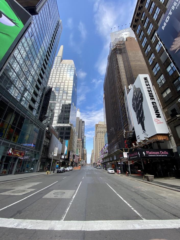Midtown's streets near Times Square stood empty on April 12 at the height of the pandemic. (Matt Troutman/Patch)