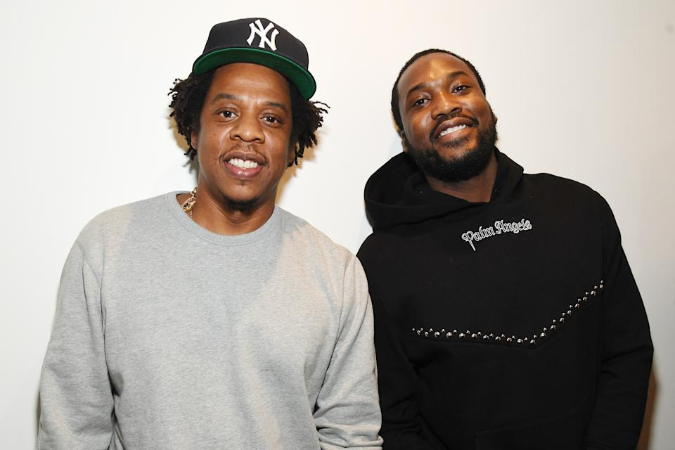 """NEW YORK, NY - JANUARY 23:  Shawn """"Jay-Z"""" Carter (L) and Meek Mill attend the launch of The Reform Alliance at John Jay College on January 23, 2019 in New York City.  (Photo by Kevin Mazur/Getty Images for The Reform Alliance)"""