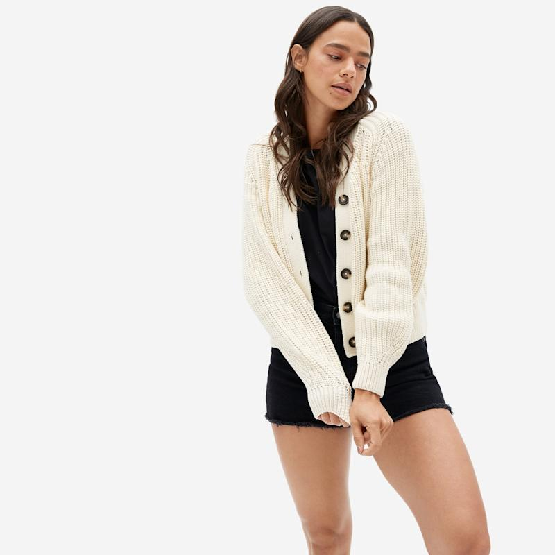 Everlane's Textured Cotton Cardigan will keep you cozy on cool summer nights.