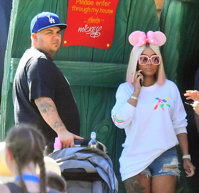 "<p>On Father's Day, just weeks before <a href=""https://www.yahoo.com/celebrity/rob-kardashians-instagram-gets-shut-blac-chyna-rants-211416989.html"" data-ylk=""slk:all hell broke loose;outcm:mb_qualified_link;_E:mb_qualified_link"" class=""link rapid-noclick-resp newsroom-embed-article"">all hell broke loose</a>, Rob and Blac took their 7-month-old baby girl, Dream, for a day at Disneyland. Hey, there are some things that even a day with Mickey and the gang can't fix! (Photo: Fern Sharpshooter/Splash News) </p>"