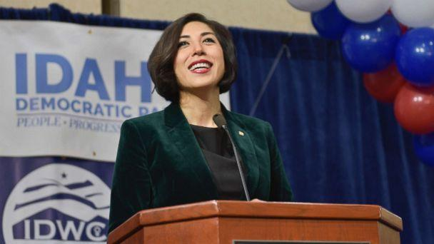 PHOTO: Democratic gubernatorial candidate Paulette Jordan addresses supporters at an election night party, Nov. 6, 2018, in Boise, Idaho. (Diane Loos/AP)