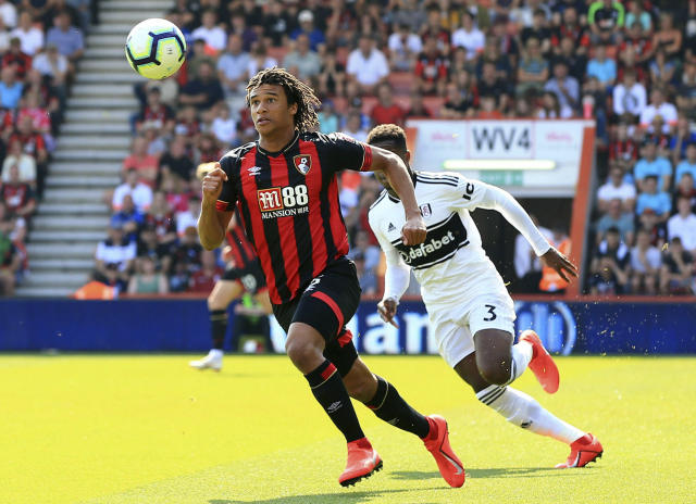 Bournemouth's Nathan Ake chases the ball during the English Premier League soccer match between Bournemouth and Fulham at the Vitality Stadium, Bournemouth England. Saturday, April 20, 2019. (Mark Kerton/PA via AP)