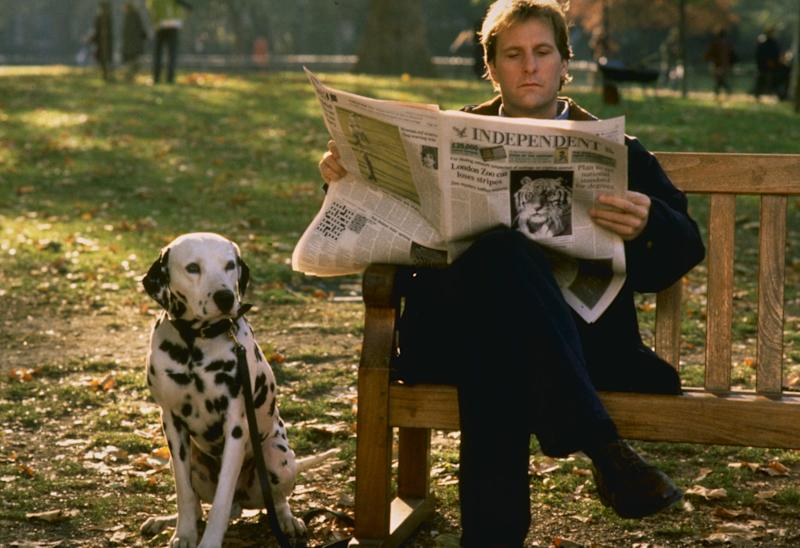 """Roger (Jeff Daniels) hangs out with his best buddy Pongo in """"101 Dalmatians."""""""