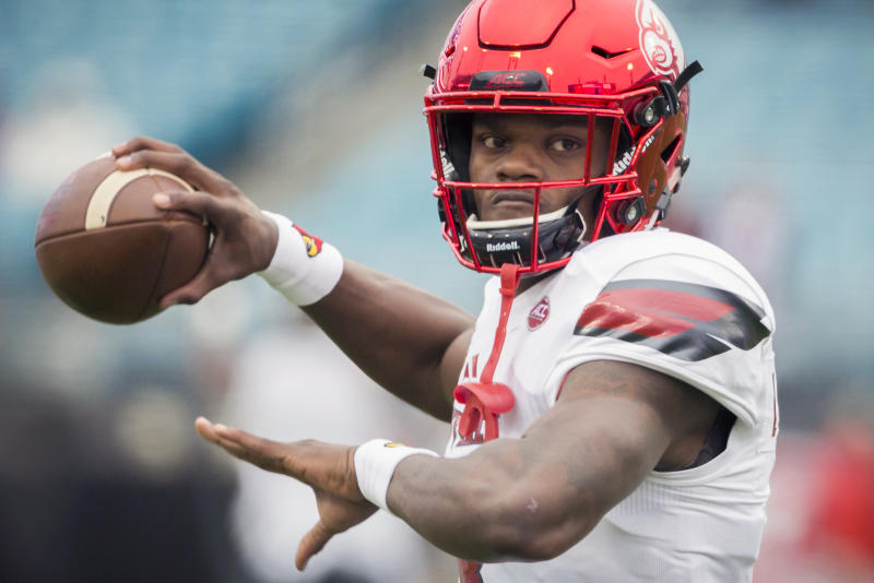 Lamar Jackson rushed for 50 TDs and threw for 69 scores in three seasons at Louisville. (AP)