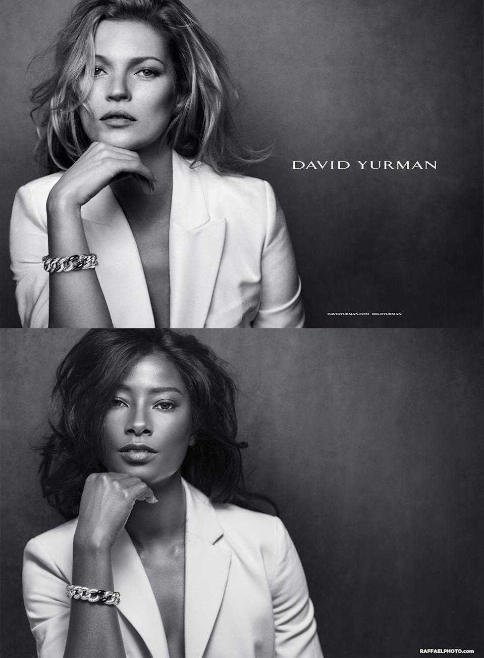 <p>Howard takes on the iconic Kate Moss in this David Yurman advertisement. </p>