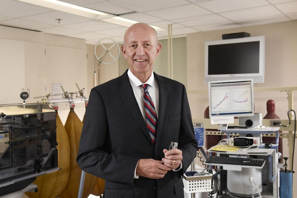 "Dr. Michael Joyner in his lab at the Mayo Clinic in Rochester, Minn. <span class=""copyright"">(Mayo Clinic)</span>"
