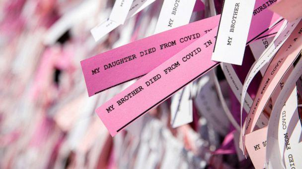 PHOTO: Messages are seen on ribbons as part of the 'Naming the Lost Memorials,' as the U.S. deaths from COVID-19 are expected to surpass 600,000, at The Green-Wood Cemetery in Brooklyn, N.Y., June 10, 2021.  (Brendan Mcdermid/Reuters)