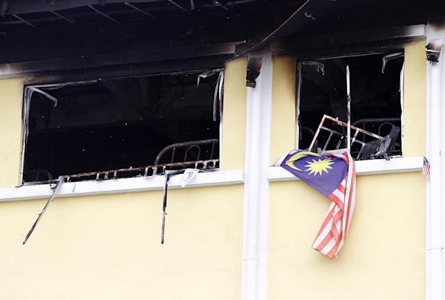 <p>A view shows the second floor of religious school Darul Quran Ittifaqiyah after a fire broke out in Kuala Lumpur, Malaysia on Sept. 14, 2017. (Photo: Lai Seng Sin/Reuters) </p>