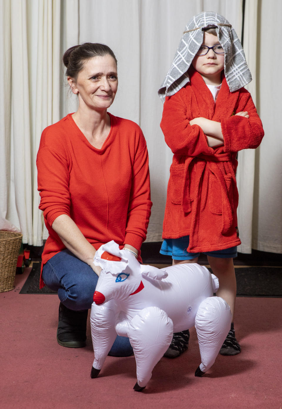Helen initially thought that the blow up sheep that came with the shepherd costume was a bonus (SWNS)