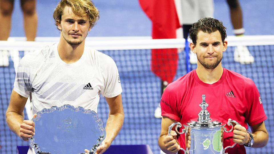 Alexander Zverev and Dominic Thiem, pictured here after the US Open final in 2020.