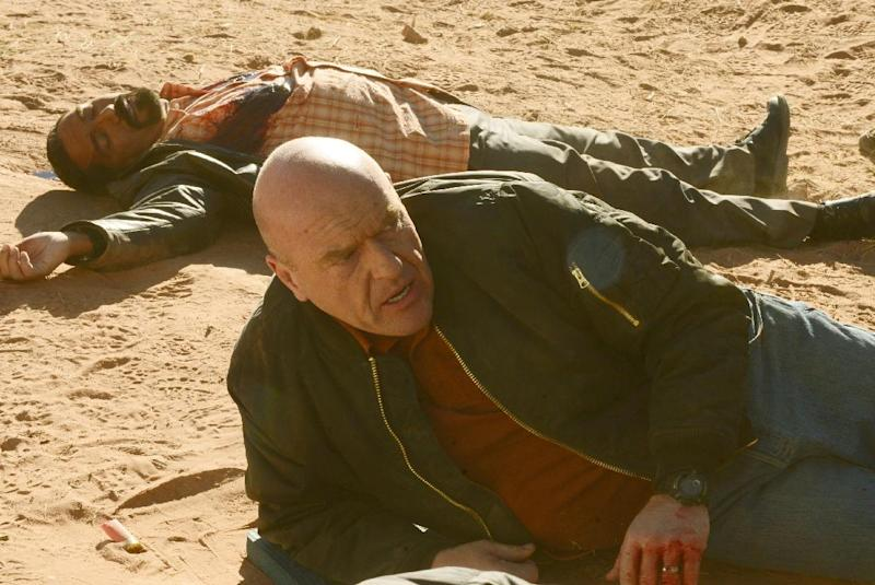 """This image released by AMC shows Hank Schrader, played by Dean Norris, foreground, and Steven Gomez, played by Steven Michael Quezada, in episode from season five of """"Breaking Bad."""" The series finale of the popular drama series aired on Sunday, Sept. 29. (AP Photo/AMC, Ursula Coyote)"""