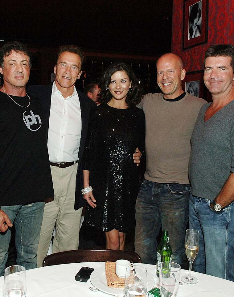 """Sylvester Stallone, Arnold Schwarzenegger, Catherine Zeta-Jones, Bruce Willis, and Simon Cowell attend the Hopkins vs. Calzaghe """"Battle of the Planet"""" boxing match after fight dinner party at Planet Hollywood's Strip House in Las Vegas. Denise Truscello/<a href=""""http://www.wireimage.com"""" target=""""new"""">WireImage.com</a> - April 19, 2008"""