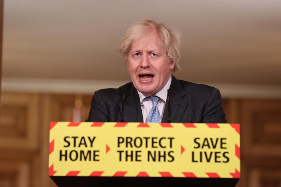 Prime Minister Boris Johnson speaks at a virtual press conference to give an update on the coronavirus Covid-19 pandemic, at Downing Street on Ferbruary 10, 2021 in London, England. (Photo by Steve Reigate - WPA Pool/Getty Images)