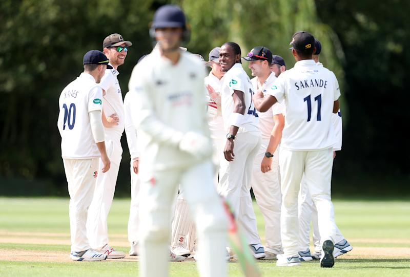 Sussex's Jofra Archer (centre) celebrates taking the first wicket of the innings during day one of the Second XI Championship match at Blackstone Academy Ground, Henfield. (Photo by Simon Cooper/PA Images via Getty Images)