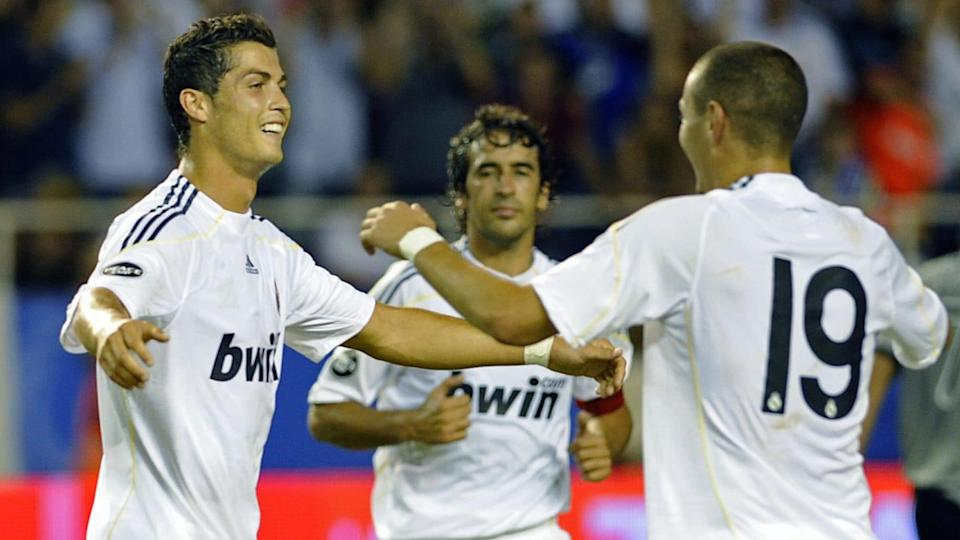 Real Madrid's Cristiano Ronaldo (L) cele | CRISTINA QUICLER/Getty Images
