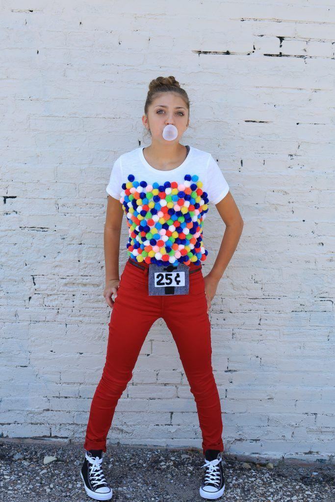 """<p>Anyone with a hot glue gun can cover a plain white t-shirt with pom-poms for a last-minute costume as sweet as bubblegum.</p><p><strong>Get the tutorial at <a href=""""http://www.cutegirlshairstyles.com/lifestyle/10-diy-food-halloween-costumes-kamri-noel/"""" rel=""""nofollow noopener"""" target=""""_blank"""" data-ylk=""""slk:Cute Girls Hairstyles"""" class=""""link rapid-noclick-resp"""">Cute Girls Hairstyles</a>.</strong></p><p><strong><a class=""""link rapid-noclick-resp"""" href=""""https://www.amazon.com/Acerich-SKU-024-1-Assorted-Multicolor-Decorations/dp/B0773MQY4H/?tag=syn-yahoo-20&ascsubtag=%5Bartid%7C10050.g.23785711%5Bsrc%7Cyahoo-us"""" rel=""""nofollow noopener"""" target=""""_blank"""" data-ylk=""""slk:SHOP CRAFT POM-POMS"""">SHOP CRAFT POM-POMS</a></strong></p>"""