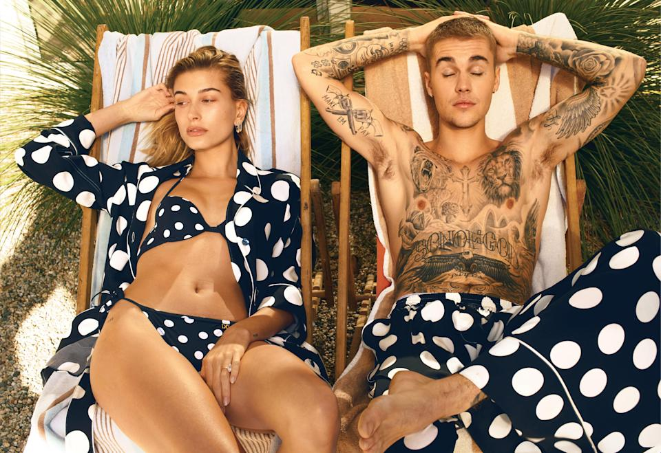 Justin and Hailey Bieber have coupled up for the March issue of <i>Vogue</i>. (Photo: Annie Leibovitz/<i>Vogue</i>)