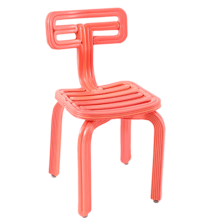 """It's hard to imagine that these squiggly chairs by Dirk van der Kooij were plastic fridge interiors in a previous life. The Dutch designer uses a 3-D printing robot to """"paint"""" each chair, layer-by-layer, over the span of three-and-a-half hours. With such a commitment to a fully sustainable production process, even the plastic offcuts are repurposed into quirky coat hangers. $586, Frozen Fountain. <a href=""""https://frozenfountain.com/products/copy-of-chubby-chair-ember?_pos=4&_sid=46b770a09&_ss=r"""" rel=""""nofollow noopener"""" target=""""_blank"""" data-ylk=""""slk:Get it now!"""" class=""""link rapid-noclick-resp"""">Get it now!</a>"""