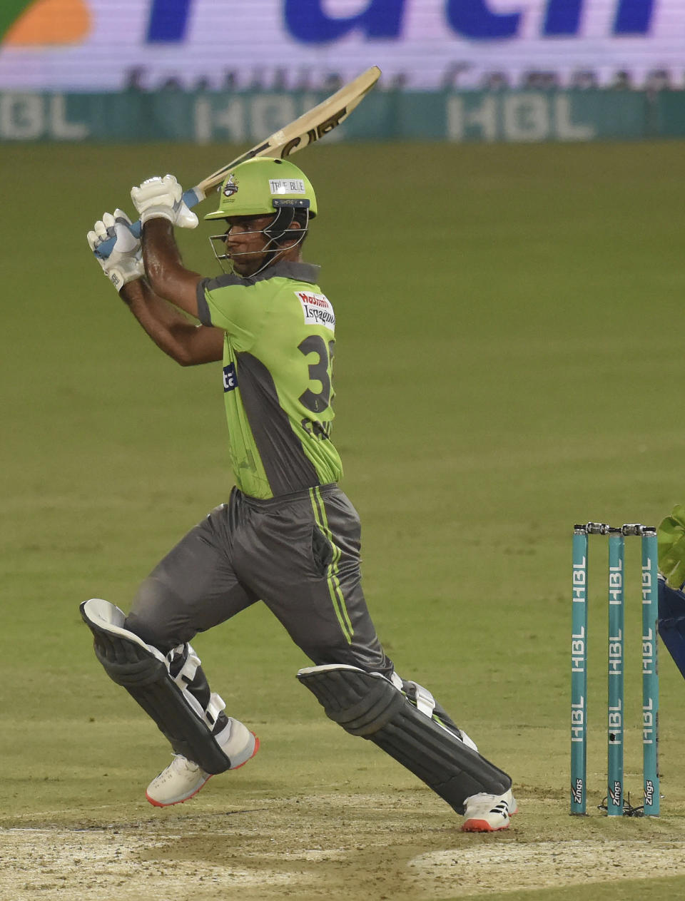 Lahore Qalandars batsman Fakhar Zaman, plays a shot against Multan Sultans during the second eliminator cricket match of Pakistan Super League T20 cup at National Stadium in Karachi, Pakistan, Sunday, Nov. 15, 2020. (AP Photo/Fareed Khan)