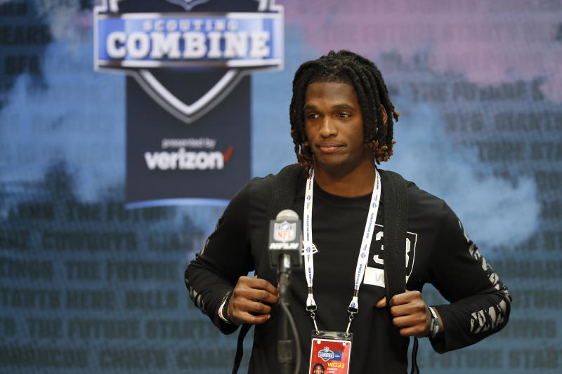 Oklahoma wide receiver Ceedee Lamb speaks during a press conference at the NFL football scouting combine in Indianapolis, Tuesday, Feb. 25, 2020. (AP Photo/Charlie Neibergall)