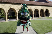 Stanford University's mascot is just laughable. There are a couple of different versions of the tree, each as ridiculous as each other. Another one that would scare you off.