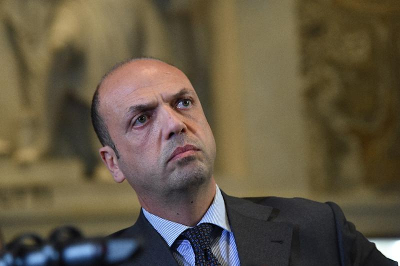 Italy's Interior Minister Angelino Alfano attends a press conference on April 9, 2015 in Milan