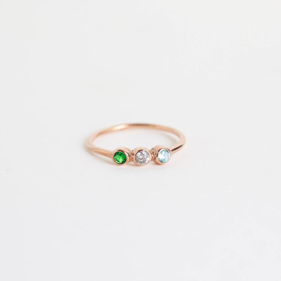 <p>If you love personalization but have a minimalistic aesthetic, this <span>Custom Birthstone Ring</span> ($22, originally $29) is the best of both worlds. It's perfect for stacking and layering, but also shines on its own.</p>