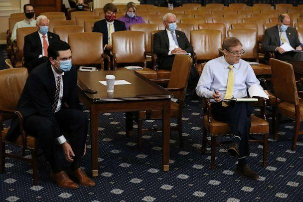 PHOTO: With the exception of Rep. Jim Jordan (R-OH) (2nd R), members of Congress and their staff wear face masks during a House Rules Committee hearing about the proposal to authorize remote voting by proxy in the House of Representatives. (Chip Somodevilla/Getty Images)