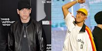 <p>The second photo here is as close to a smile that we've <em>ever</em> seen from Eminem. The rapper is notorious for keeping his look subdued, even when accepting awards. </p>