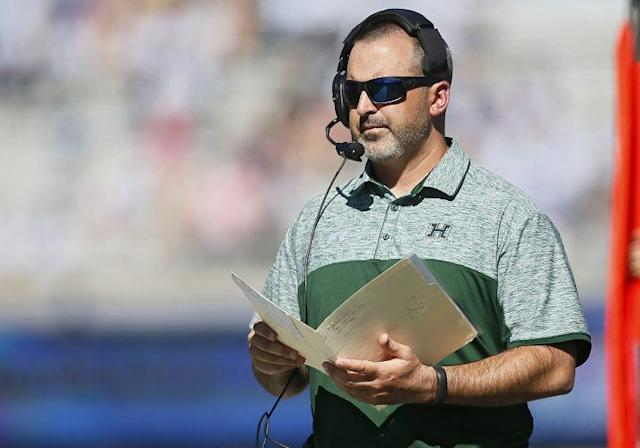 It was a Blue Hawaii type of day for Hawaii coach Nick Rolovich on Tuesday. (Getty)