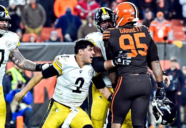 Browns defensive end Myles Garrett is serving an indefinite suspension for striking Mason Rudolph with his own helmet in Week 11. (Ken Blaze/USA TODAY Sports)