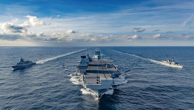 Norwegian anti-submarine frigate HNoMS Thor Heyerdahl with the UK's Carrier Strike Group as it transits east across the Atlantic following deployment to the USA, taken by Leading Photographer Kyle Heller