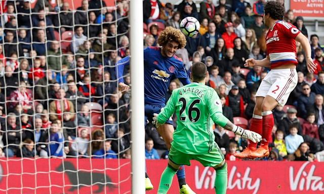 "<span class=""element-image__caption"">Marouane Fellaini heads Manchester United into the lead.</span> <span class=""element-image__credit"">Photograph: Lee Smith/Reuters</span>"