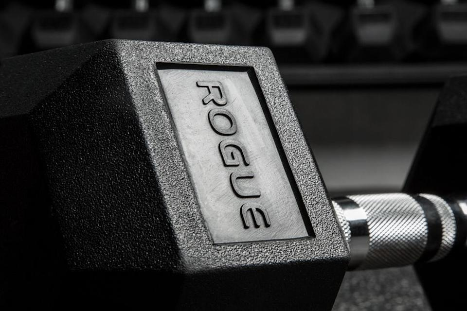 """<p>These 2.5-pound <span>Rogue: Dumbbells</span> ($15) are """"ergonomically designed."""" Meaning you'll always have a secure grip on these weights. </p>"""