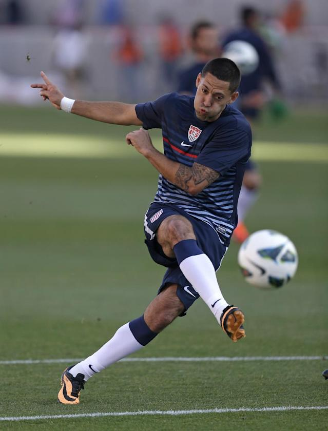 FILE - In this June 18, 2013 file photo, United State's Clint Dempsey takes a shot at goal during warm ups before a World Cup qualifying soccer match against Honduras, at Rio Tinto Stadium in Sandy, Utah. Coming off an injury-filled summer, U.S. national soccer team star Clint Dempsey is looking forward to regaining form heading into his first World Cup as U.S. captain. (AP Photo/Rick Bowmer, File)