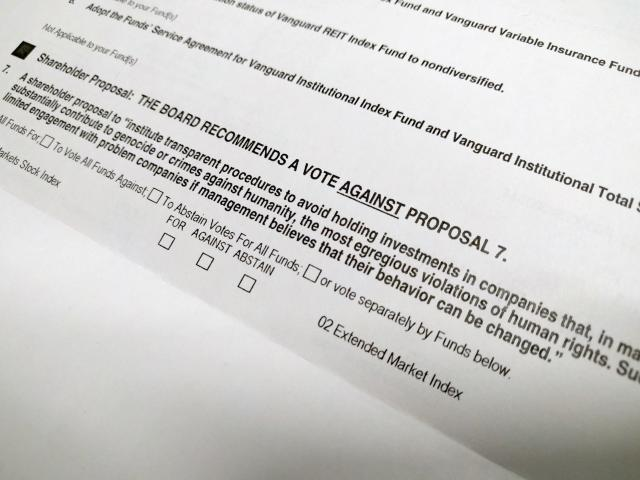 A paper ballot. Vanguard is encouraging online voting, since well over 90% of its investments come through the web. (Yahoo Finance)
