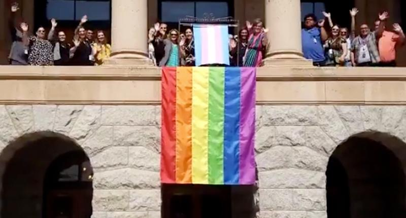 The pride flag displayed at the Arizona Capitol building was swiftly removed. (Photo credit: Twitter)