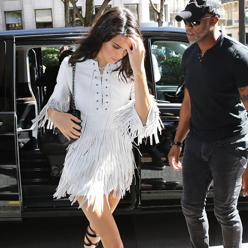 f451430cf473 Kendall Jenner Skips Out on New York—And Says Bonjour to the Bohemian  Gladiator Look