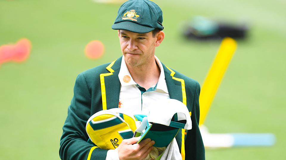 Seen here, Tim Paine wears his Aussie colours during a team training session.
