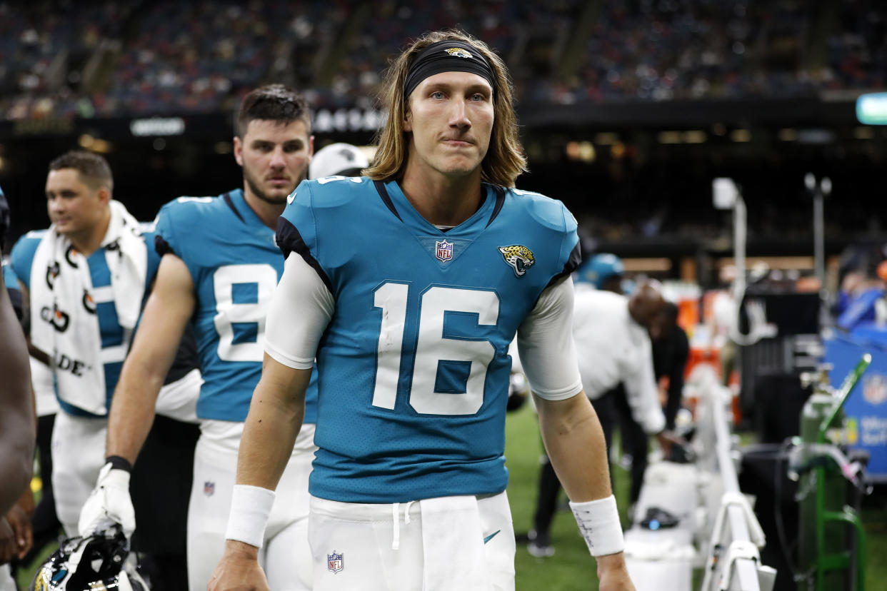 Trevor Lawrence has struggled but he's still going to be the Jaguars' opening day starter. Right? (AP Photo/Tyler Kaufman)