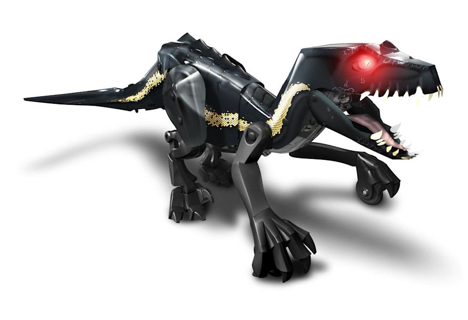 <p>Perfect for the dino lover (and STEM student) in your household, this build-it-yourself dino robot can move, growl, and attack with the aid of an easily downloadable mobile app. (Photo: Mattel) </p>