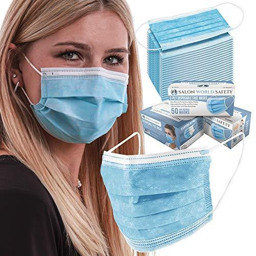 TCP Global Salon World Safety - 3 Boxes (150 Masks) of 3-Ply Breathable Disposable Masks