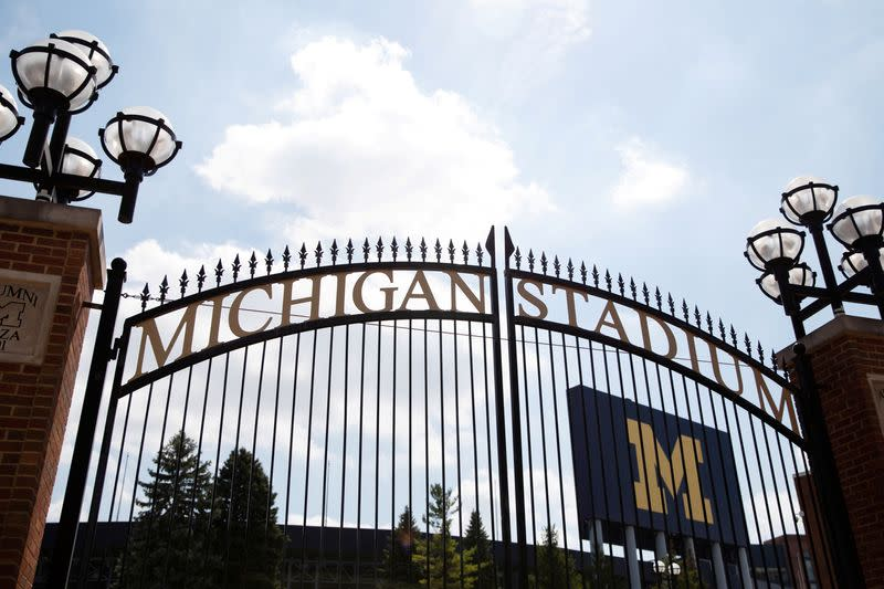 FILE PHOTO: The main entrance to Michigan Stadium on the University of Michigan campus is seen in Ann Arbor