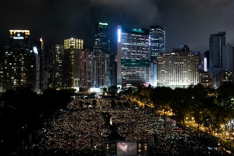 The traditional candlelight vigil in Hong Kong's Victoria Park to mark the anniversary of the Tiananmen crackdown, seen here in 2019, has been banned