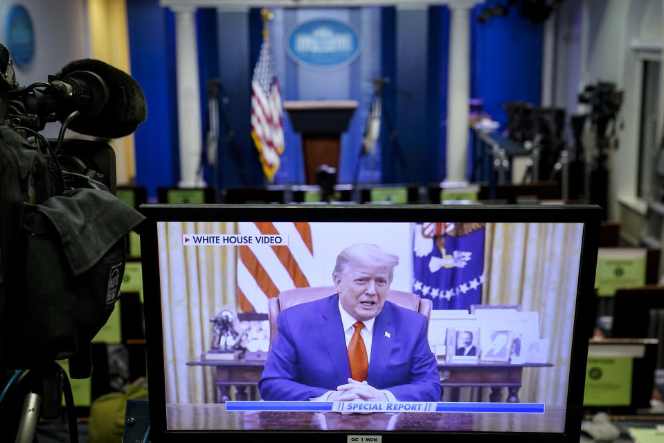 WASHINGTON, DC - JANUARY 13: A television monitor in the White House Press Briefing Room displays a recorded address by U.S. President Donald Trump after the U.S. House of Representatives voted to impeach him on January 13, 2021 in Washington, DC. President Trump is the first president in United States history to face impeachment twice. (Photo by Drew Angerer/Getty Images)