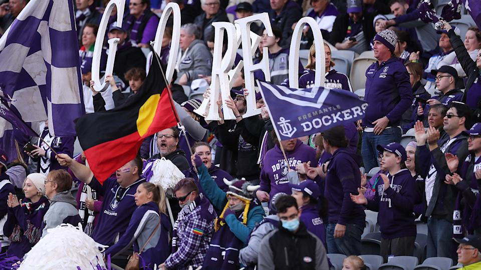 Dockers fans, pictured here celebrating a goal during Fremantle's clash with West Coast.
